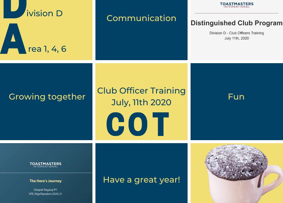 Club Officer Training – Areas D1, D4 & D6 – 11 Juli